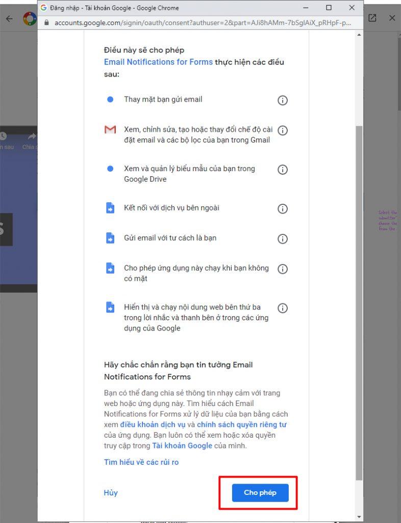 cài đặt thời gian google form